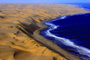 Sea and sand in Namibia
